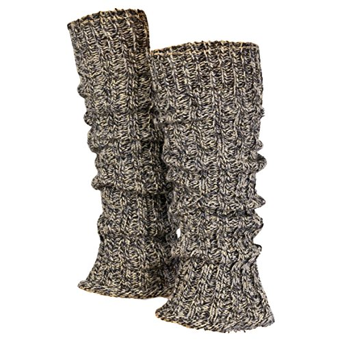 Piarini 1 Paar Grobstrick Stulpen Damen Bein   warme Winter Beinstulpen   One-Size Wolle Multicolour-grau