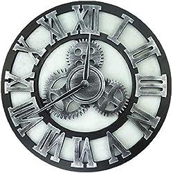 TOOWE 40/60/80 cm muet Horloge Murale Vitesse Horloge Murale Chiffre Chiffre Horloge Murale Grande Horloge pour Cuisine Salon Chambre,Silver,80cm