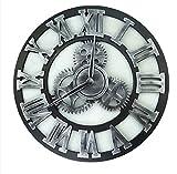 TOOWE 40/60/80 cm muet Horloge Murale Vitesse Horloge Murale Chiffre Chiffre Horloge Murale Grande Horloge pour Cuisine Salon Chambre,Silver,60cm...