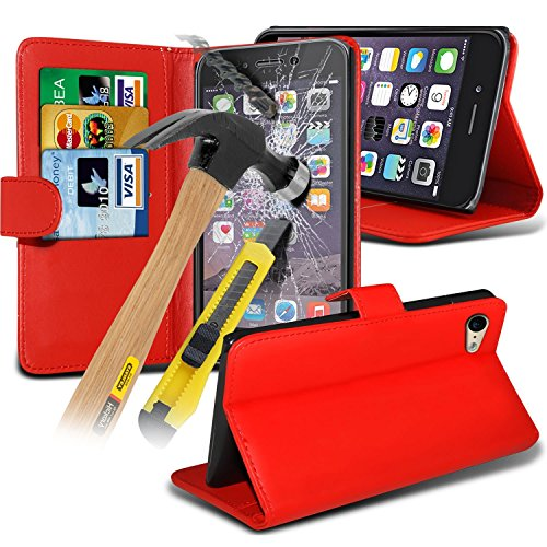 i-Tronixs ( Red ) <b>     Le cas Apple iPhone 6S housse étui     </b>     case étui Premium Quality S Line Wave Gel Case Skin Cover With LCD Tempered Glass Screen Protector Guard, Polishing Cloth & Mini Retractabl Wallet + Glass ( Red )