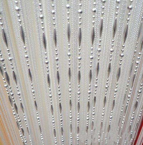 HONG Quaste Perlen Vorhang Kristall Perlen Design mit Gewinde String Tür Vorhang Fenster für Raumteiler Trennwand (100 cm x 200 cm 2 Stück ) ,Weiß