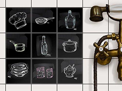 Fliesen renovieren Fliesensticker Fliesenfolie für Küchen Wandfliesen | Dekorsticker für Küchenfliesen zur Küchengestaltung ohne Fliesenlack | 10x10 cm - Motiv Kochspaß - 27 Stück