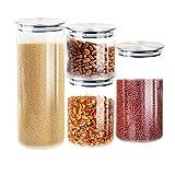 T-SUN Contenitori per Alimenti in Vetro, Contenitori Pasta con Coperchi Ermetici in Acciaio Inossidabile, per la Conservazione Ideale per Zucchero,Biscotti,caffè, Succhi-Senza BPA (Set di 4)