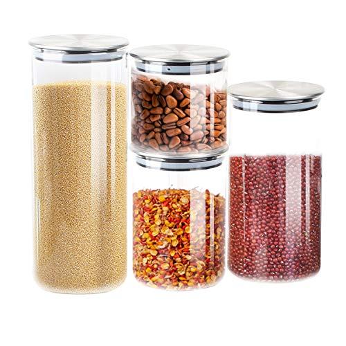 T SUN Contenitori per Alimenti Vetro Contenitori Pasta con Coperchi Ermetici Acciaio Inossidabile per la Conservazione Ideale per