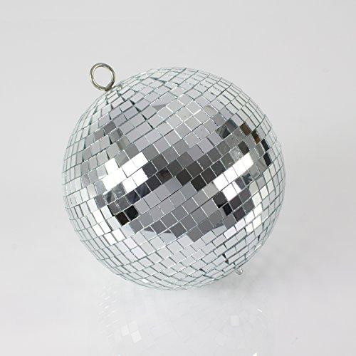 Set aus 2 x Discokugel GLIX mit Echtglasfacetten, Ø 20cm, silber - Diskokugel für Partyraum, Geburtstage oder Garagenparty - showking