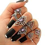 Doitsa 7 pcs Orientalisches Vintage Fashion Midi Ringe Fingerring-Set für Damen Mädchen, Fashion Frauen Ring Nagel Finger Band Schmuck Silber