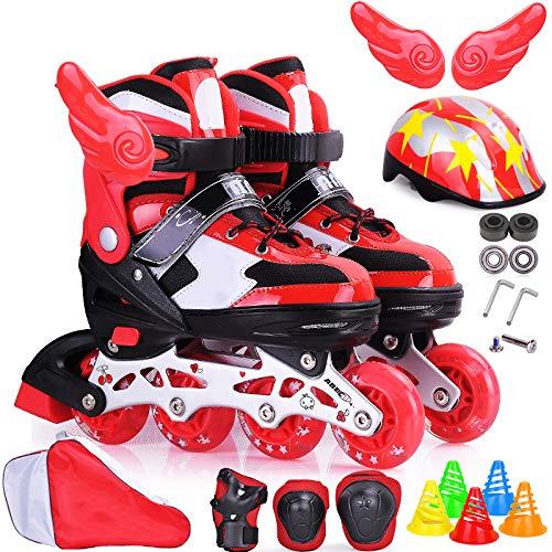 DSFGHE Rollschuhe 3-12 Jahre Alt Kinder Anfänger Kind Junge Kind Skate Schuhe Mädchen Einstellbare Größe Breathable Rollerblades Gesetzt,Red-S(26-31)
