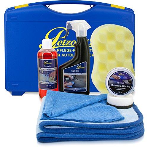 Mattlack-Komplett Pflegeset; Petzoldts Shampoo, Reiniger, Wachs, Zubehör und Koffer - Komplett-reiniger