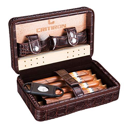 CRITIRON Reisehumidor Kassette Tragbarer Humidor für 4 Zigarren aus Leder Zedernholz Interieur für Reise und Transport(Braun 4 Zigarren)