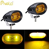 #10: Pivalo 20W 2 LED Oval 4D Projector Lens Fog Light Automotive Work Light LED Spotlight Lamp Headlight for Motorcycle Car SUV Forklift Truck Boat UTV Offroad Vehicles (Pack of 2, Yellow)