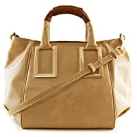 Lush Leather Medium Plus Metal Squares Top Handle Beige Bag