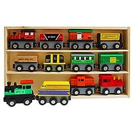 Trenino in Legno Magnetico (13 Pezzi) Set – 12 Trenino in Magnetico con 1 Custodia in Legno – Collezione Trenino Legno – Set Accessori Treno
