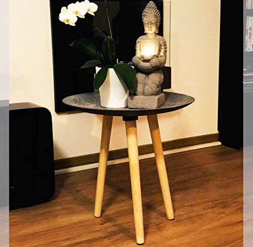 Livarno living ASIA Dreibein-Tisch COUCHTISCH Design Beistelltisch H 45 cm anthrazit traditionell modern asiatisches Feuergebranntes Design ~ds2 342