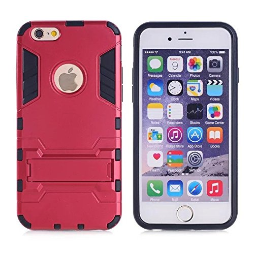 iPhone Case Cover IPhone 5S SE Cover, 2 in 1 neue Rüstung Tough Style Hybrid Dual Layer Defender PC harte rückseitige Abdeckung mit Standplatz shockproof Fall für IPhone 5S SE ( Color : Rose Gold , Si Red