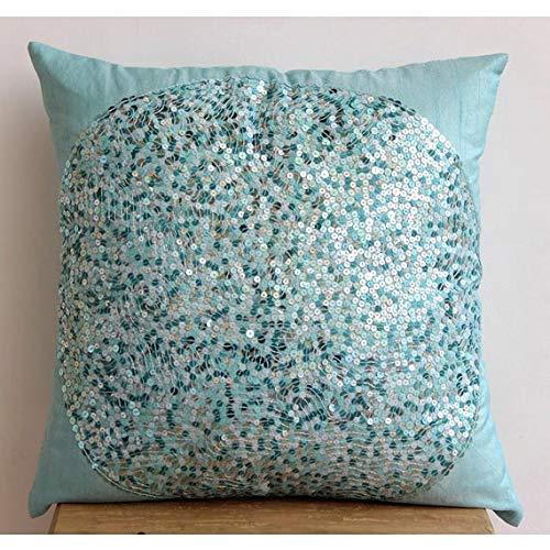 The HomeCentric handgefertigt Blau Akzent Kissen, zeitgenössisch Geometrisch Kissenbezug, 30x30 cm Kissen Decken, Art Silk Platz Kissen-, Pailletten Kissen Decken - Blue Eye Sparkle -