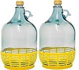 2 STÜCK 5L GLASBALLON mit Kunststoffkorb Weinballon GÄRBALLON GLASFLASCHE kostenlose Lieferung