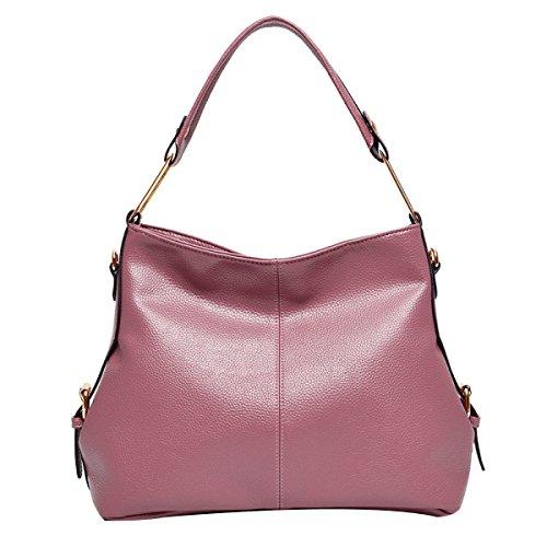 Borsa In Pelle Multicolore Da Donna Con Borchie In Pelle Lady Pocket Satchel Pink