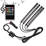 #10: Trest LED Strip Light for Car,4pcs 12 inch 8 Color Car Interior Light Decoration Atmosphere Neon Light Strip Under Dash Light Kit with Sound Active Function Wireless Remote Control for Tata Indigo CS