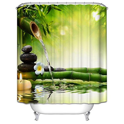 aihometm Wasserdicht Polyester Mildewproof Stoff Vorhang Badezimmer Dusche Badewanne Deko Vorhang–Colorful Tree of Life (150x 180cm, 180cm x180cm), bambus, B:180x180
