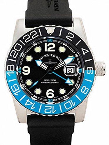 Zeno-Watch Herrenuhr - Airplane Diver Quartz GMT Points (Dual Time), black/blue - 6349Q-GMT-a1-4