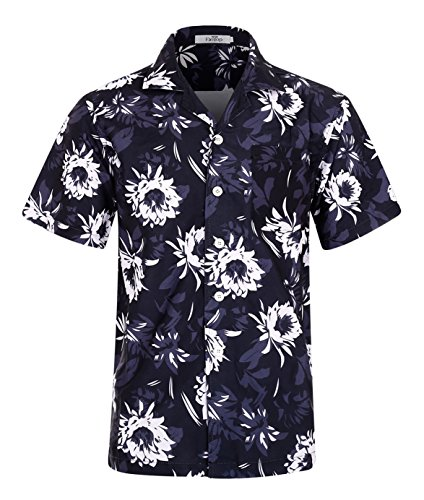 Beach-herren Shirt (Herren Hawaii Hemd Kurzarm Flamingos Aloha Party Shirt Palm Beach Shirts Chrysanthemum Print EHS013-2XL)