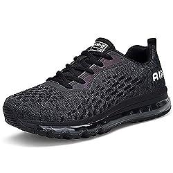 Unisex Herren Damen Sportschuhe Laufschuhe Bequeme Air Laufschuhe Schnürer Running Shoes BLACKWHITE44