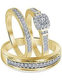 Silvernshine 14k Yellow Gold Fn .925 Silver 1.10 Ct Diamond Engagement Ring Wedding Trio Set