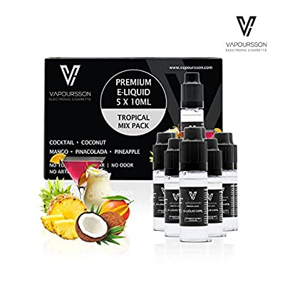 VAPOURSSON 5 X 10ml E Liquid Tropical Pack | Pinacolada | Cocktail | Pineapple | Mango | Coconut | Only High-Grade Ingredients used | VG & PG Mix | Made For Electronic Cigarette and E Shisha from Vapoursson