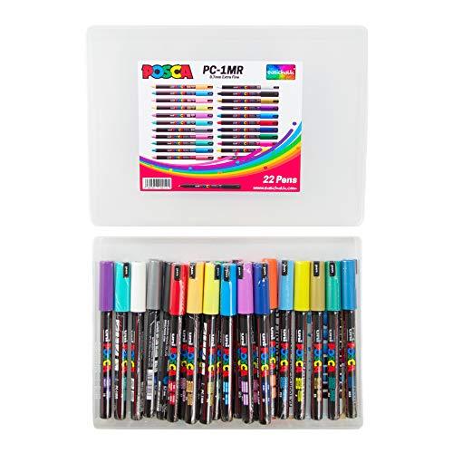 Posca PC-1MR - Set completo di 22 colori con punta extra fine da 0,7 mm, fantastico set artistico, 22 penne, in esclusiva per easichalk.