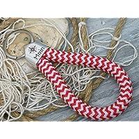 MOIN - Schlüsselanhänger Schlaufe - rot weiß zickzack- handgetüdelt in Hamburg - maritimes Geschenk, für einen Umzug nach Norddeutschland oder an die Küste