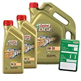 2x 1 L + 5 L = 7 Liter Castrol Edge Titanium FST™ 0W-30 Motor-Öl inkl. Ölwechsel-Anhänger