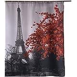 Eanshome Vintage Paris Torre Eiffel Flor roja Ideas Cuarto de baño Impermeable Cortina de Ducha