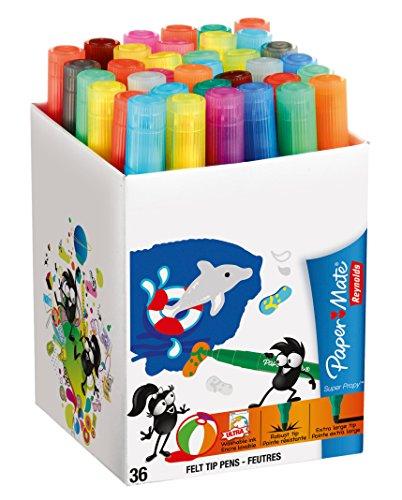 reynolds-paper-mate-s0250641-paquete-de-36-rotuladores-de-colores-punta-extra-larga