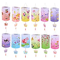 Toyvian Chinese Paper Lanterns Lamp Shades Ceiling Hanging Decoration Colorful 12 Pieces