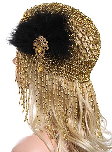 Jahre Kostüm 1920er Gold - ArtiDeco 1920s Stirnband Damen Gatsby Haar Kette Exotisch Cleopatra Kostüm Accessoires 20er Jahre Flapper Blinkendes Haarband (Gold mit Feder)