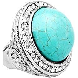 Joyas Ant Symphony boho tribal hippie Stretch Anillo elástico redondo cristalino transparente piedra turquesa