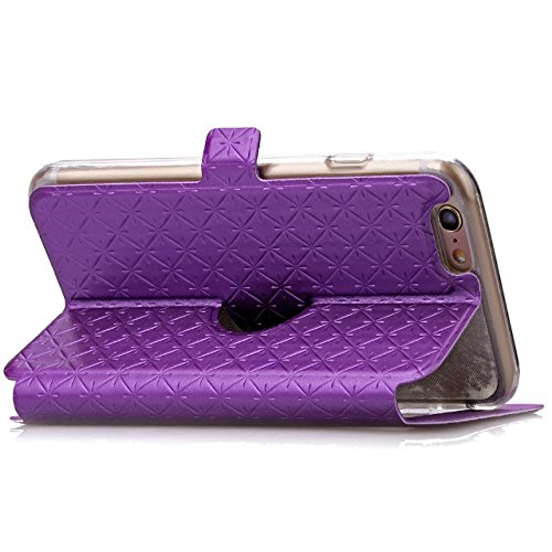 iPhone Case Cover Quadrat-Diamant-Gitter-Muster PU-lederner Fenster-Fall-weicher TPU Abdeckungs-Standplatz-Fall mit Karten-Schlitz für IPhone 6 6s Plus ( Color : White , Size : IPhone 6s Plus ) Purple