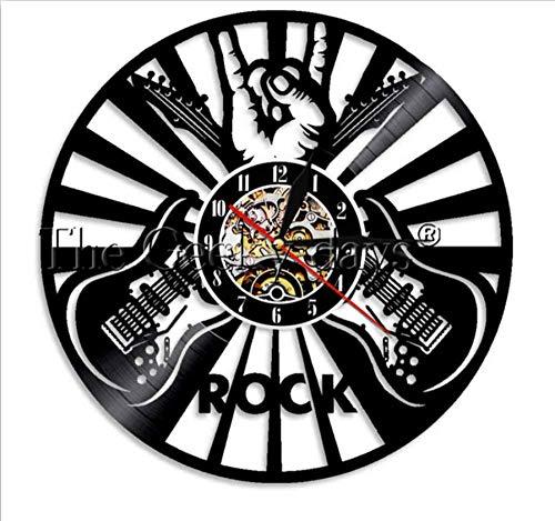 ClockGH Rock n Roll Wanduhr Rock The Mic Rock Handzeichen Engelsflügel Vintage Schallplatte Wanduhr Sänger Rock Star Rockabilly Geschenk (Star Rock Mic)