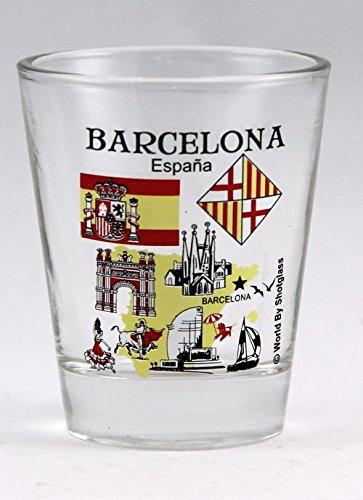"Aquí 's a muy raro y duro encontrar Souvenir coleccionable Shot Glass de Barcelona España. Se trata de un estilo de 5x 6cm Shot Glass medición 2.25""de altura y 1.8de diámetro."