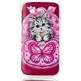 Qiaogle Teléfono Caso - Funda de TPU silicona Carcasa Case Cover para Samsung Galaxy Grand Neo i9060 / Grand Neo Plus i9062 (5.0 Pulgadas) - YH30 / Lindo gato mochila