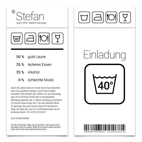 30 x Einladungskarten runder Geburtstag 40 Jahre Grad Geburtstagseinladungen - Waschanleitung
