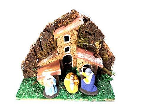 Mini presepe completo in miniatura 6x10 alto 9 cm con nativita 3 pastori terracotta alti 3-4 cm sughero e legno napoletano pastori statuine presepe ricevi un portachiavi artigianali mar