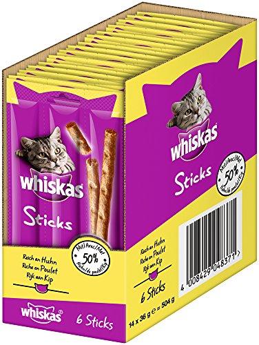 Whiskas Sticks, Katzensnack in verschiedenen Geschmacksrichtungen, Unwiderstehliches Geschmackserlebnis, Viele Vitamine und Mineralstoffe
