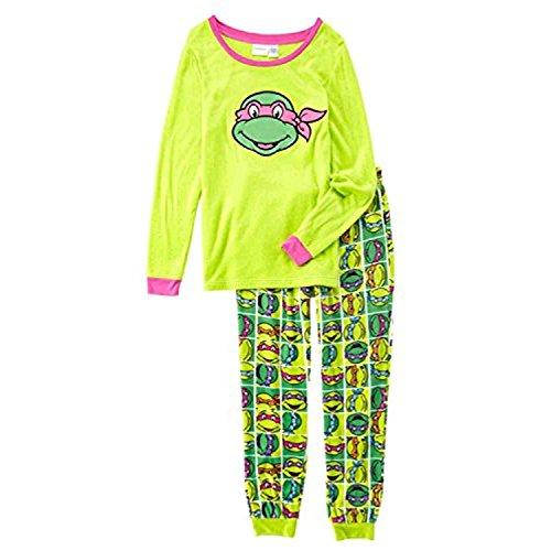 (TMNT Womens Green Fleece Teenage Mutant Ninja Turtles Pigiama Sleep Set L)