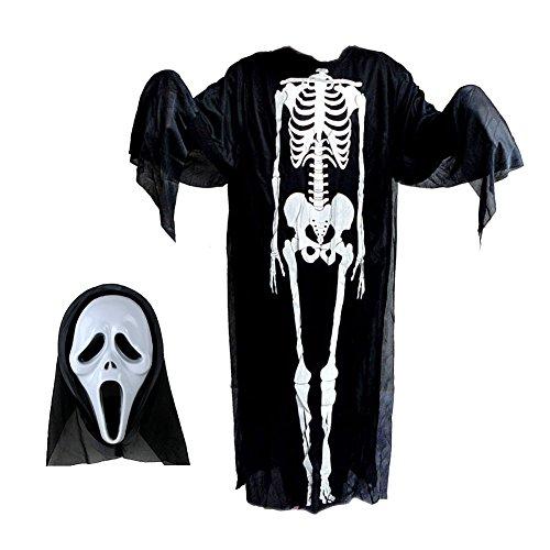 Negro disfraz de Halloween Ghost Esqueleto Cráneo de ropa cosplay vestido de diablo Cool con máscara