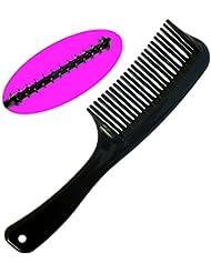 Peigne à Cheveux Démêlant Noir - Longueur Totale 21cm - Detangling Comb