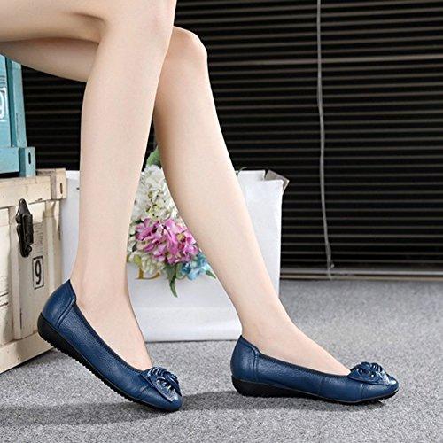 Casuale Comodo Donna Ballerina Nodo Scuro Elegante Frestepvie Con Blu B Modalità Singolo Barca Scarpe Piatto cBzH48cAZq