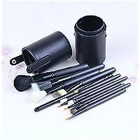 XNWP-Cilindro spazzola per il trucco trucco set di spazzole spazzola con manico in legno 12 lana di colore strumenti di bellezza,nero