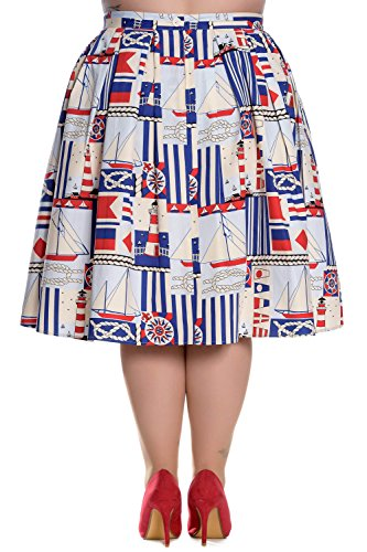 Hell Bunny Rock LIGHTHOUSE SKIRT 5424 cremefarben Cremefarben