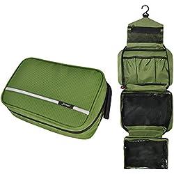 Bolsa de aseo para colgar, Jiemei Bolsa de aseo de viajepara hombres y mujeres con tamaño compacto y plegable, cremallera de alta calidad, 2 paquetes de perchas portátiles de regalo (Verde)